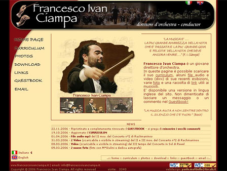 screen dell'home page di Francesco Ciampa