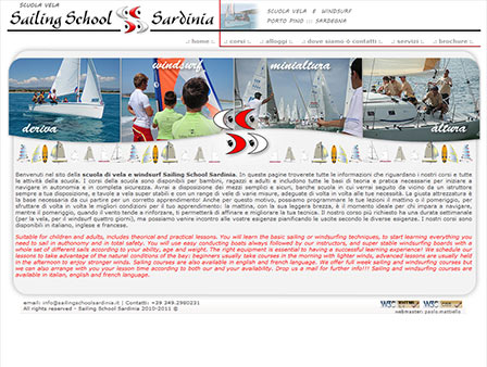 screen dell'home page di Sailing School Sardinia